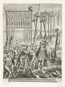 Anabaptists on the execution field, from Hortensius (1614). Source = Rijksmuseum, Amsterdam